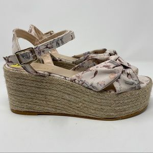 NEW Zara Floral Strappy Wedge Sandal Espadrilles